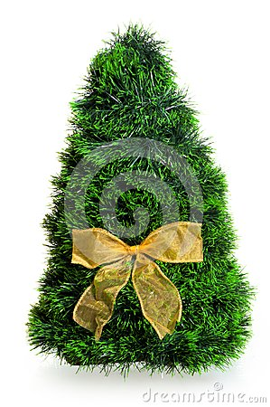 Christmas tree with a bow on a white background