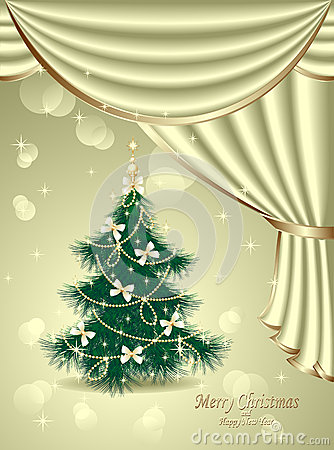 Christmas Tree with bows, stars, garland, light, d