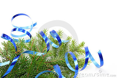 Christmas tree branch and blue ribbon