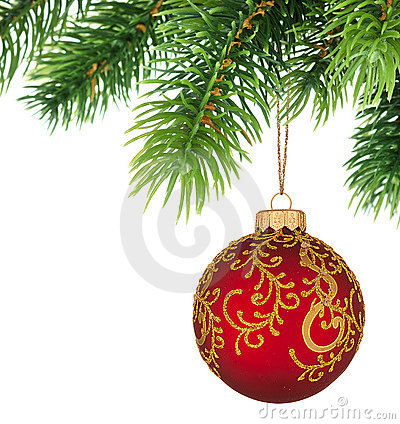 Christmas tree branch with Christmas ball