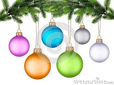 Christmas tree branch with Christmas ball