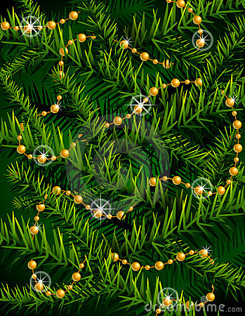 Christmas tree branches and decorative beads.