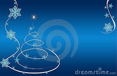 Christmas Tree Card Blue Stars And Flowers Royalty Free Stock Photos - Image: 16997948