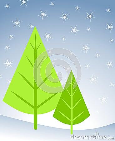Christmas Tree Card Scene