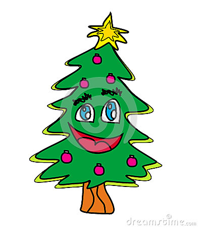 Christmas tree cartoon character
