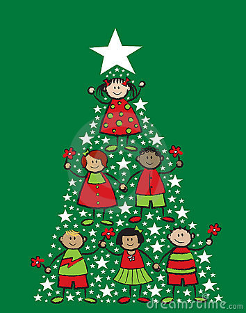Free Christmas Tree Cartoon Kids Stock Photos - 3200923