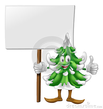 Christmas tree character holding sign