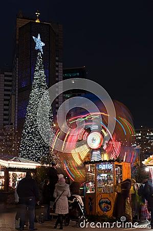 Christmas Tree, a children s carousel Editorial Stock Photo