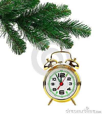 Christmas tree and clock