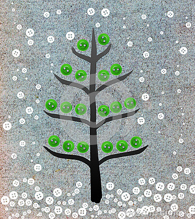 Christmas tree collage with buttons