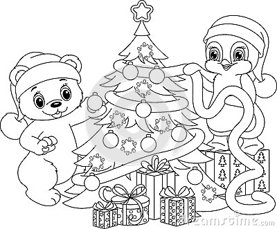 Stock Illustration Christmas Tree Coloring Page Polar Bear Penguin Decorate Image59076013 on santa claus penguin
