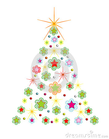 Christmas holiday tree with comet,vector