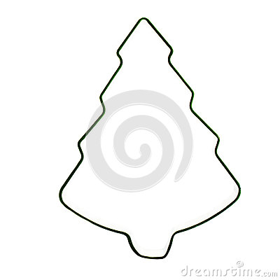 Christmas Tree cookie pastry cutter isolated on white background