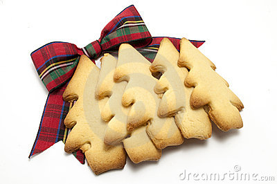 Christmas Tree cookies layer with Tartan Bow