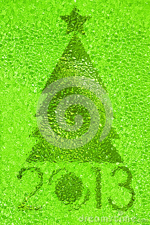 Christmas tree crystal green background
