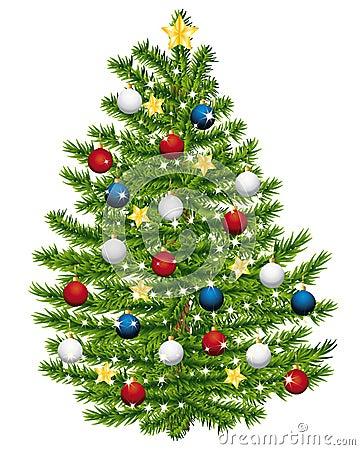 Christmas tree decorated.