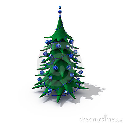 Christmas tree decorated blue