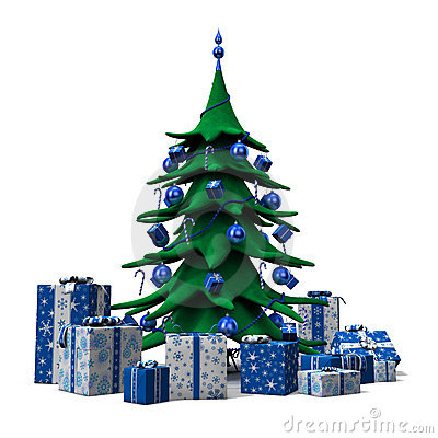 Christmas tree decorated blue with blue presents