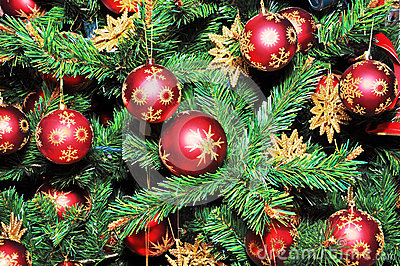 Christmas Tree Decorated with Red Balls.