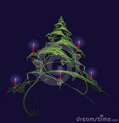 Free Christmas Tree Decorated With Candles Stock Images - 1234494
