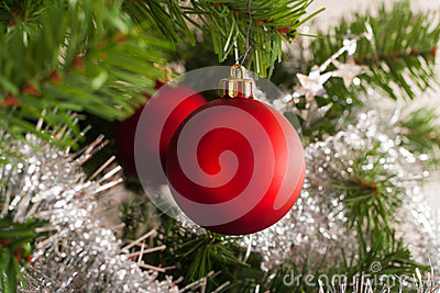 Christmas tree decoration on a fir