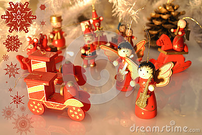 Christmas tree decoration with wodden  ornaments  with reflection