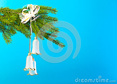 Christmas tree decorations against blue background