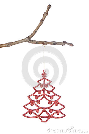 Christmas tree decorations on a branch.