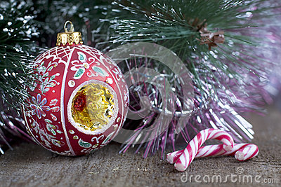 Christmas tree, decorations and candy