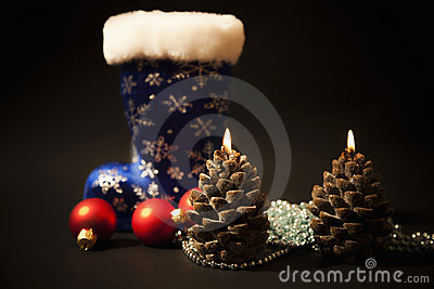 Christmas-tree decorations and christmas candles