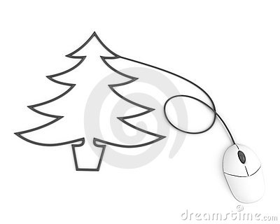 Christmas tree depicted with computer mouse cable