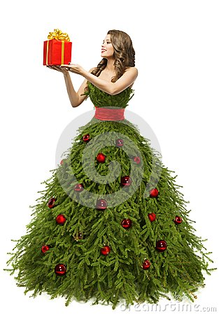 Free Christmas Tree Dress, Woman And Present Gift, New Year Fashion Stock Photography - 103010742