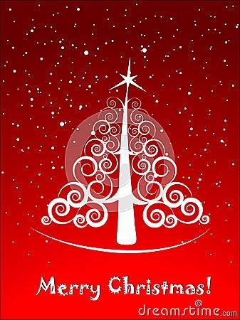Christmas tree elegant postcard