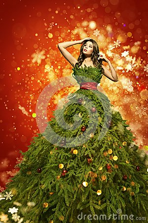Free Christmas Tree Fashion Dress, Woman Art Xmas Gown, New Year Girl Royalty Free Stock Photos - 103023058