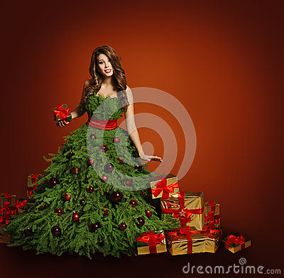 Free Christmas Tree Fashion Woman Dress, Model Girl, Red Presents Royalty Free Stock Images - 61398179