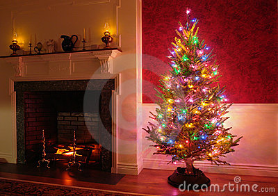 Christmas Tree and Fireplace in Traditional House
