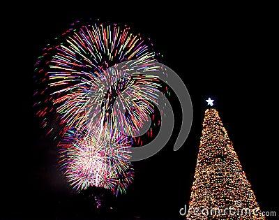Christmas tree fireworks eve lights santa
