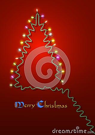 Christmas tree formed garland lights