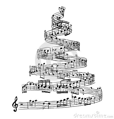 Free Christmas Tree From Music Notes Stock Photography - 79868862