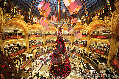 The Christmas tree at Galeries Lafayette Editorial Stock Image