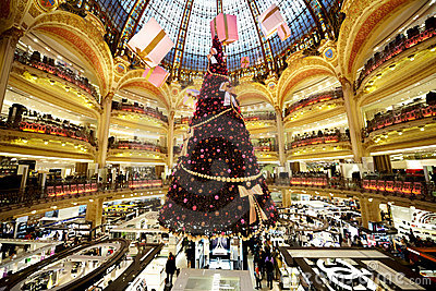 The Christmas tree at Galeries Lafayette Editorial Photography