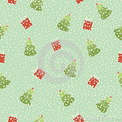 Christmas tree gift seamless background