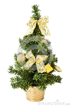 Christmas tree with gifts, bows and balls on white