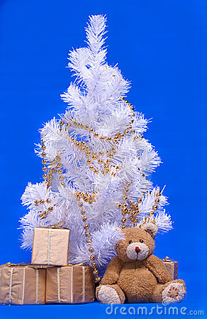 Christmas tree, gifts box and teddi bear