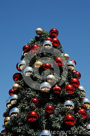 Christmas tree glinting under sunny african sky royalty for Blue gold and white christmas tree