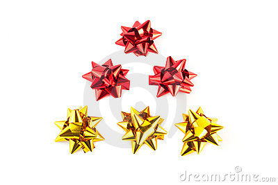 christmas tree of gold and red bows