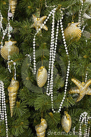 Christmas tree gold sea decorated backgrounds