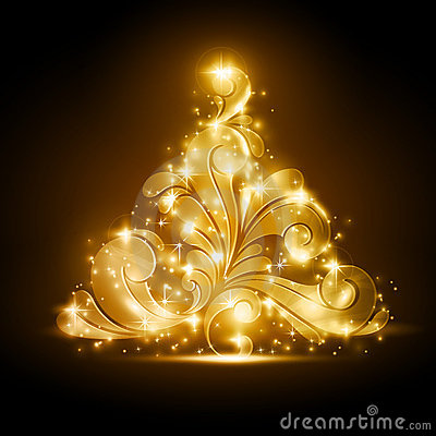 Christmas tree with golden glow and sparkles