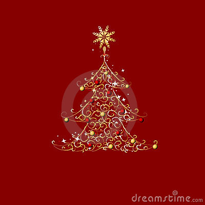 Christmas tree, golden ornament