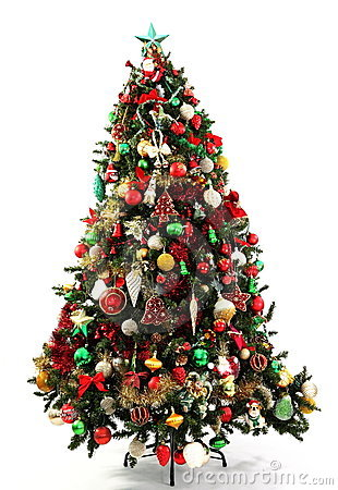 Christmas tree green red and gold royalty free stock for Green and gold christmas tree